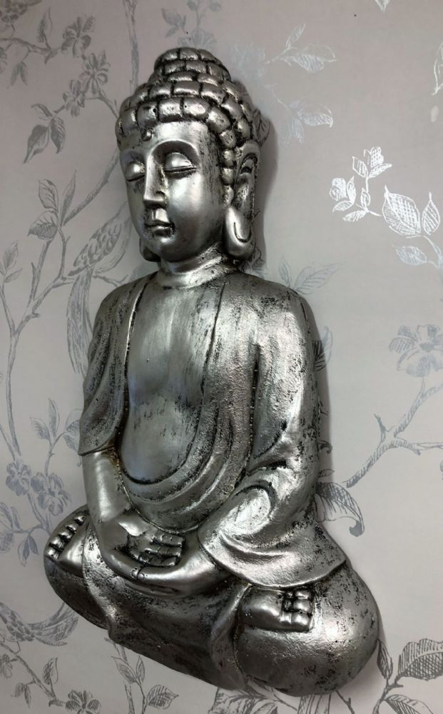 Pewter Effect 41cm Meditation Buddha Home | Garden Wall Art
